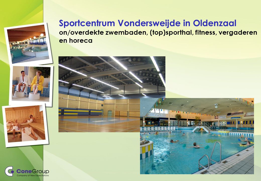 Sportcentrum Vondersweijde in Oldenzaal on/overdekte zwembaden, (top)sporthal, fitness, vergaderen en horeca