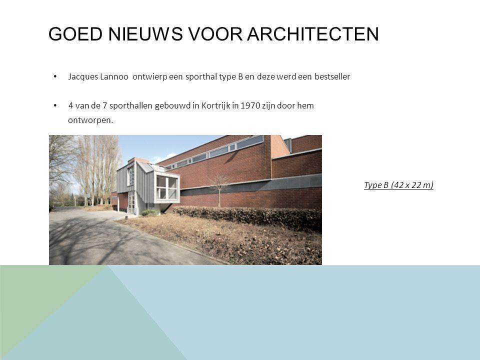 GOED NIEUWS VOOR ARCHITECTEN Jacques Lannoo ontwierp een sporthal type B en deze werd een bestseller 4 van de 7 sporthallen gebouwd in Kortrijk in 1970 zijn door hem ontworpen.
