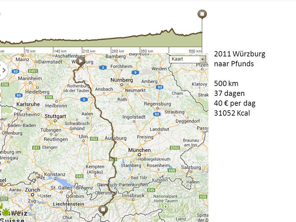 2011 Würzburg naar Pfunds 500 km 37 dagen 40 € per dag 31052 Kcal