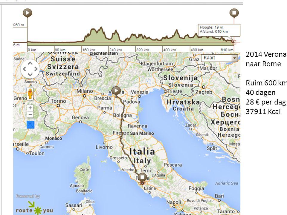 2014 Verona naar Rome Ruim 600 km 40 dagen 28 € per dag 37911 Kcal