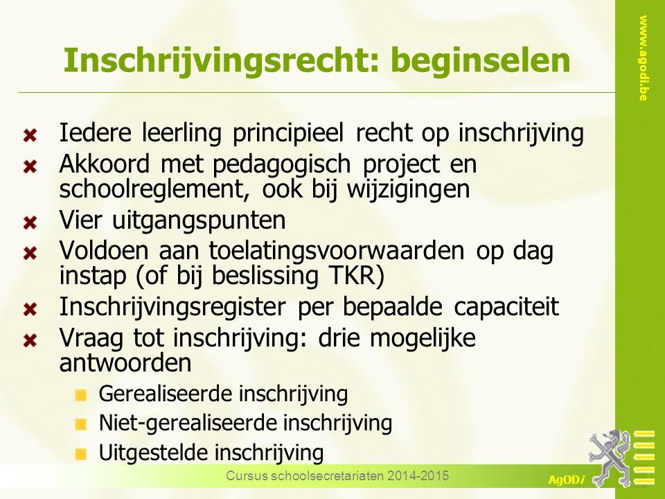 www.agodi.be AgODi Inschrijvingsrecht: beginselen Iedere leerling principieel recht op inschrijving Akkoord met pedagogisch project en schoolreglement