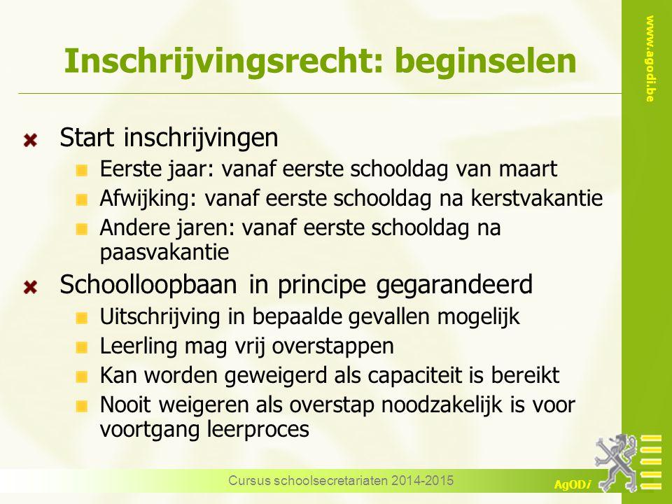 www.agodi.be AgODi Inschrijvingsrecht: beginselen Start inschrijvingen Eerste jaar: vanaf eerste schooldag van maart Afwijking: vanaf eerste schooldag