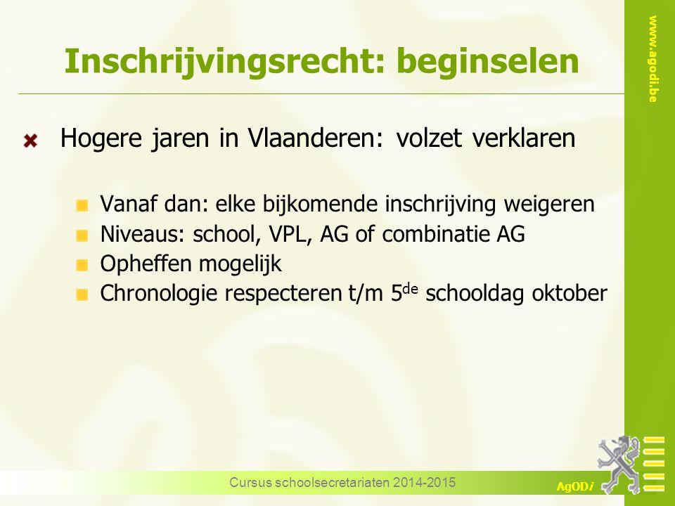 www.agodi.be AgODi Inschrijvingsrecht: beginselen Hogere jaren in Vlaanderen: volzet verklaren Vanaf dan: elke bijkomende inschrijving weigeren Niveau