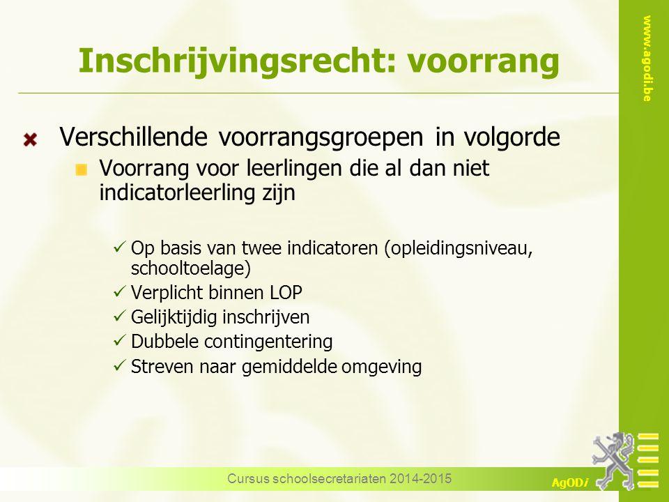 www.agodi.be AgODi Inschrijvingsrecht: voorrang Verschillende voorrangsgroepen in volgorde Voorrang voor leerlingen die al dan niet indicatorleerling