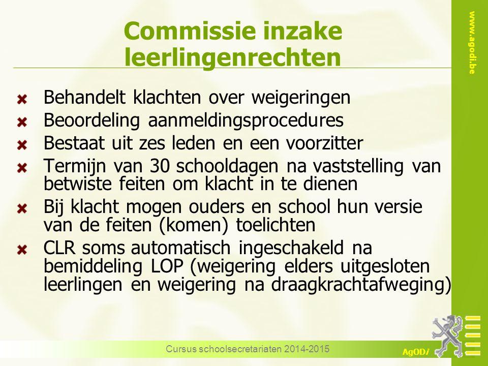 www.agodi.be AgODi Commissie inzake leerlingenrechten Behandelt klachten over weigeringen Beoordeling aanmeldingsprocedures Bestaat uit zes leden en e