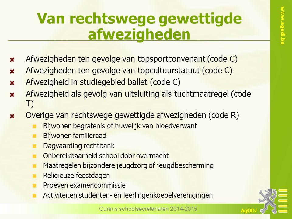 www.agodi.be AgODi Van rechtswege gewettigde afwezigheden Afwezigheden ten gevolge van topsportconvenant (code C) Afwezigheden ten gevolge van topcult