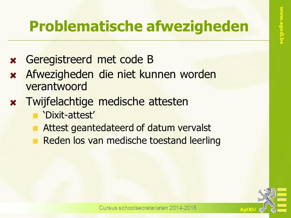 www.agodi.be AgODi Problematische afwezigheden Geregistreerd met code B Afwezigheden die niet kunnen worden verantwoord Twijfelachtige medische attest
