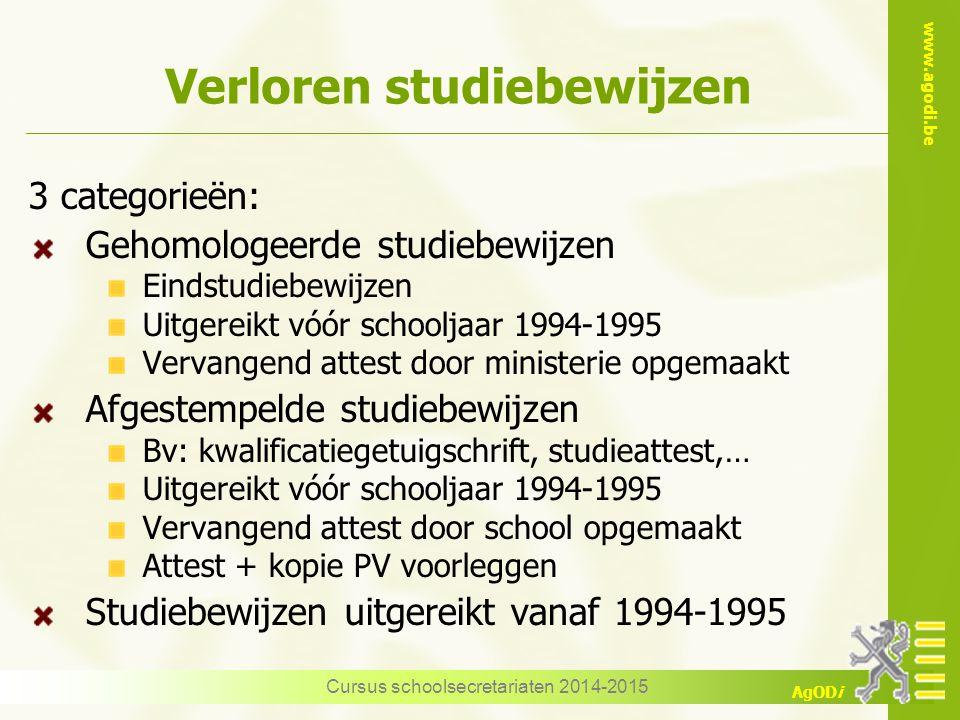 www.agodi.be AgODi Verloren studiebewijzen 3 categorieën: Gehomologeerde studiebewijzen Eindstudiebewijzen Uitgereikt vóór schooljaar 1994-1995 Vervan