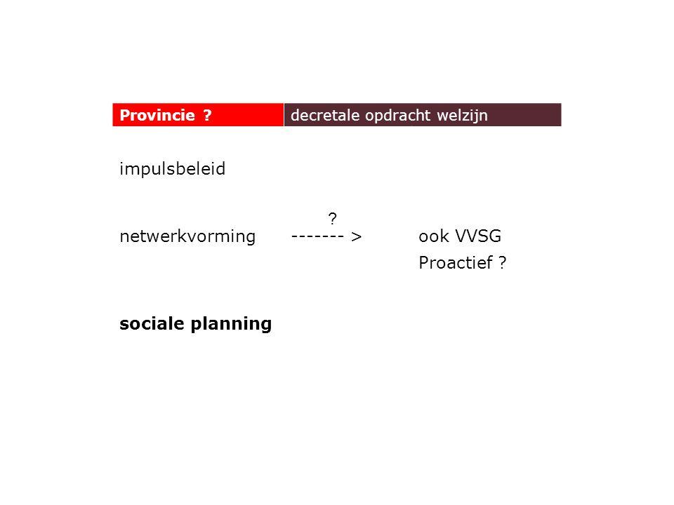 Provincie ?decretale opdracht welzijn impulsbeleid netwerkvorming------- >ook VVSG Proactief .