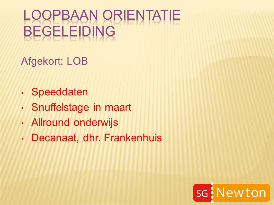 Afgekort: LOB Speeddaten Snuffelstage in maart Allround onderwijs Decanaat, dhr. Frankenhuis
