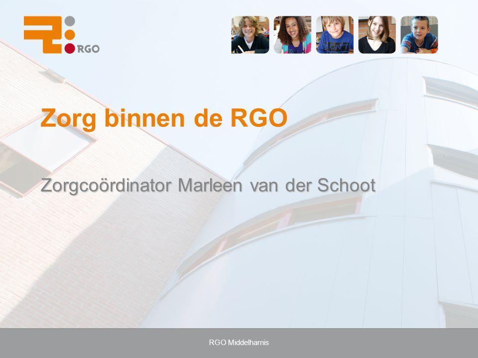 Zorg binnen de RGO Zorgcoördinator Marleen van der Schoot
