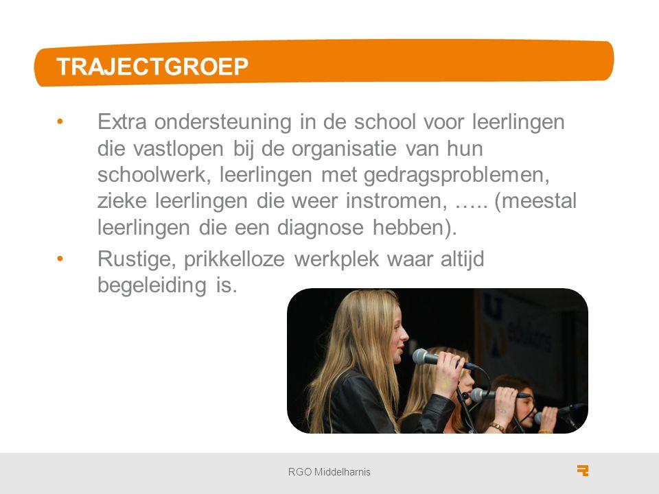 TRAJECTGROEP Extra ondersteuning in de school voor leerlingen die vastlopen bij de organisatie van hun schoolwerk, leerlingen met gedragsproblemen, zieke leerlingen die weer instromen, …..
