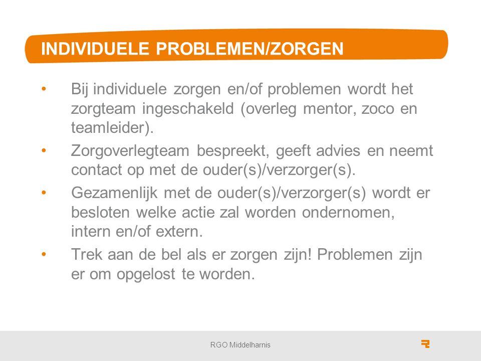 INDIVIDUELE PROBLEMEN/ZORGEN Bij individuele zorgen en/of problemen wordt het zorgteam ingeschakeld (overleg mentor, zoco en teamleider).