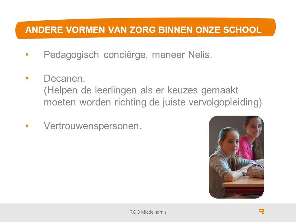 ANDERE VORMEN VAN ZORG BINNEN ONZE SCHOOL Pedagogisch conciërge, meneer Nelis.