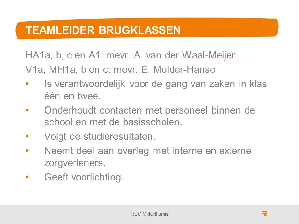 TEAMLEIDER BRUGKLASSEN HA1a, b, c en A1: mevr.A. van der Waal-Meijer V1a, MH1a, b en c: mevr.