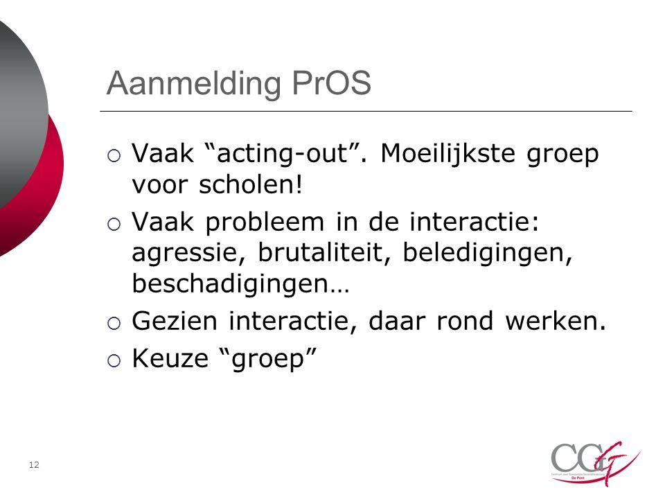 Aanmelding PrOS  Vaak acting-out .Moeilijkste groep voor scholen.