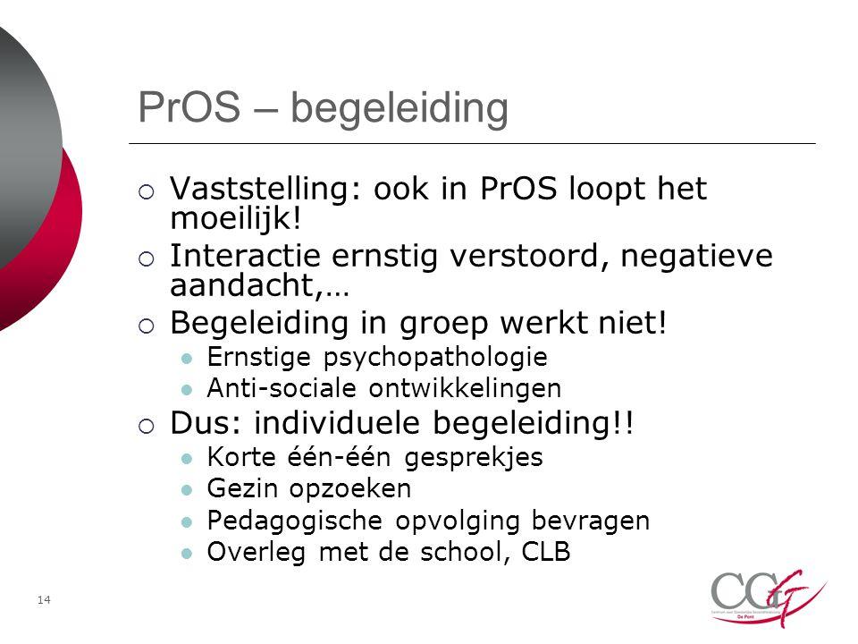 PrOS – begeleiding  Vaststelling: ook in PrOS loopt het moeilijk.