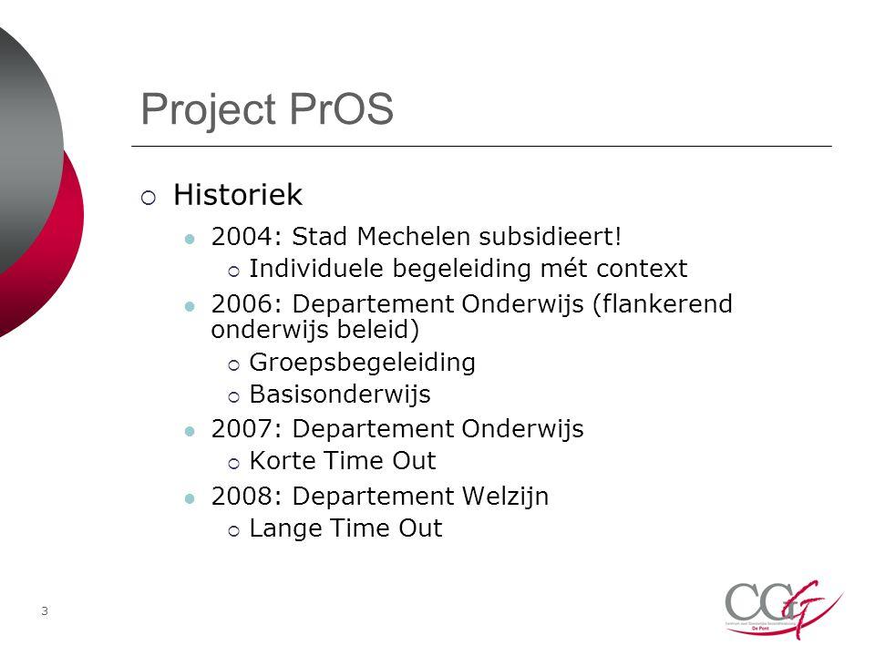 3 Project PrOS  Historiek 2004: Stad Mechelen subsidieert.