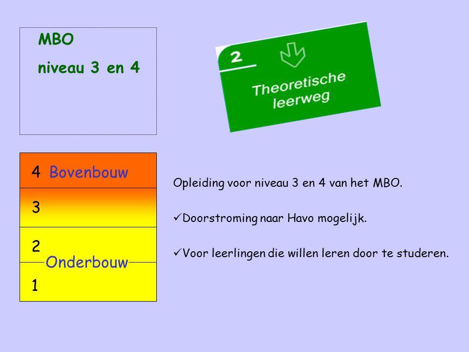 Opleiding voor niveau 3 en 4 van het MBO. Doorstroming naar Havo mogelijk. Voor leerlingen die willen leren door te studeren. MBO niveau 3 en 4 Onderb