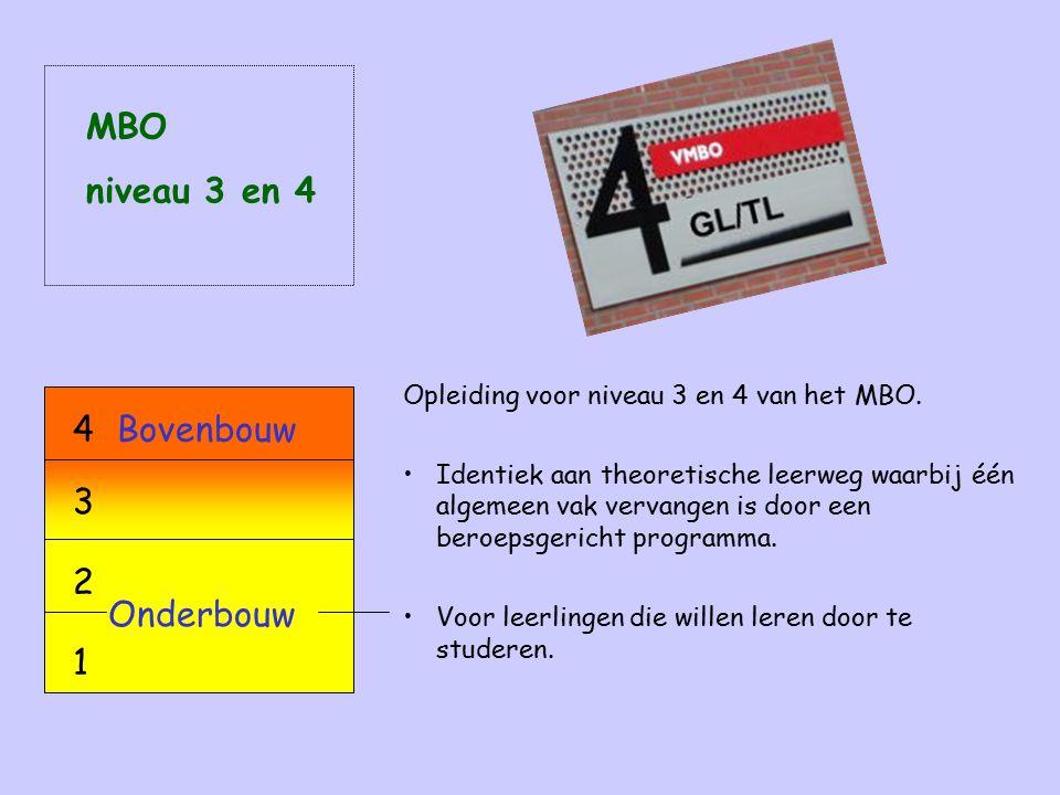 Opleiding voor niveau 3 en 4 van het MBO.