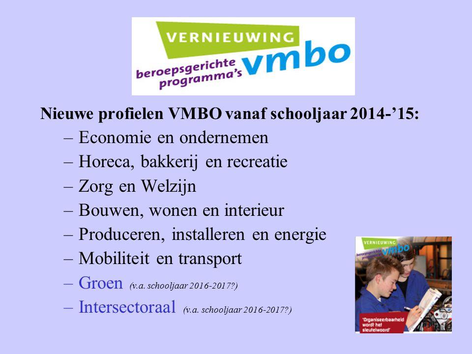 Nieuwe profielen VMBO vanaf schooljaar 2014-'15: –Economie en ondernemen –Horeca, bakkerij en recreatie –Zorg en Welzijn –Bouwen, wonen en interieur –Produceren, installeren en energie –Mobiliteit en transport –Groen (v.a.