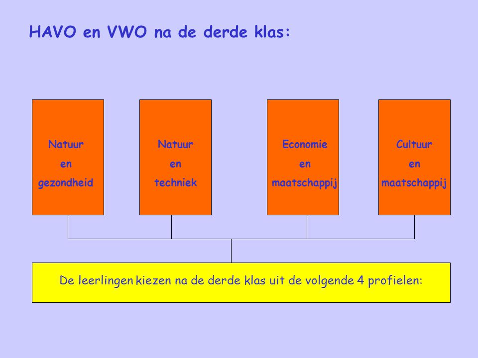 HAVO en VWO na de derde klas: De leerlingen kiezen na de derde klas uit de volgende 4 profielen: Cultuur en maatschappij Economie en maatschappij Natuur en techniek Natuur en gezondheid