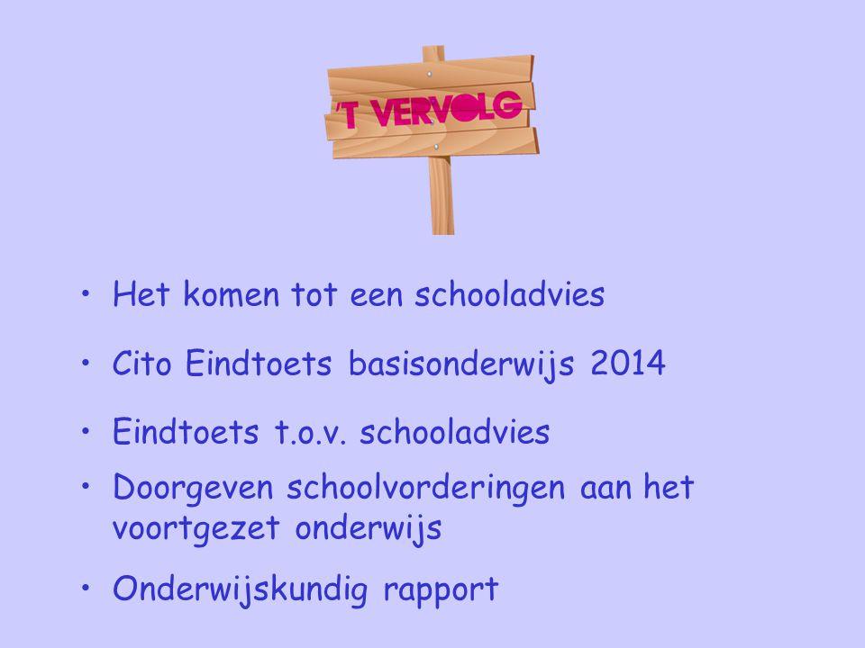 Het komen tot een schooladvies Cito Eindtoets basisonderwijs 2014 Eindtoets t.o.v. schooladvies Doorgeven schoolvorderingen aan het voortgezet onderwi