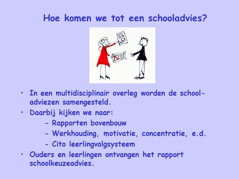 Hoe komen we tot een schooladvies? In een multidisciplinair overleg worden de school- adviezen samengesteld. Daarbij kijken we naar: - Rapporten boven