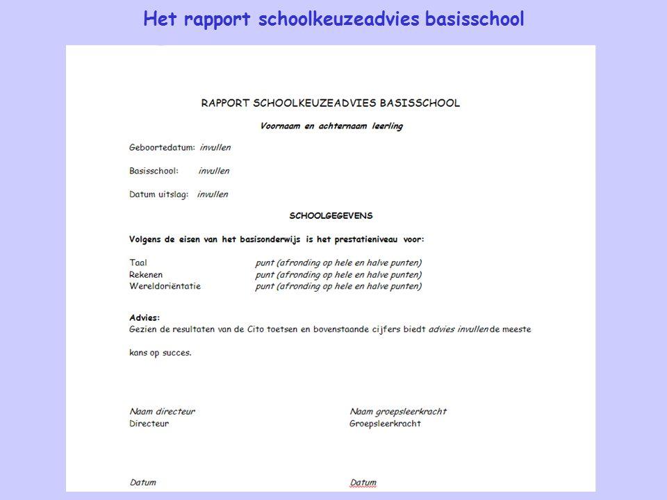 Het rapport schoolkeuzeadvies basisschool