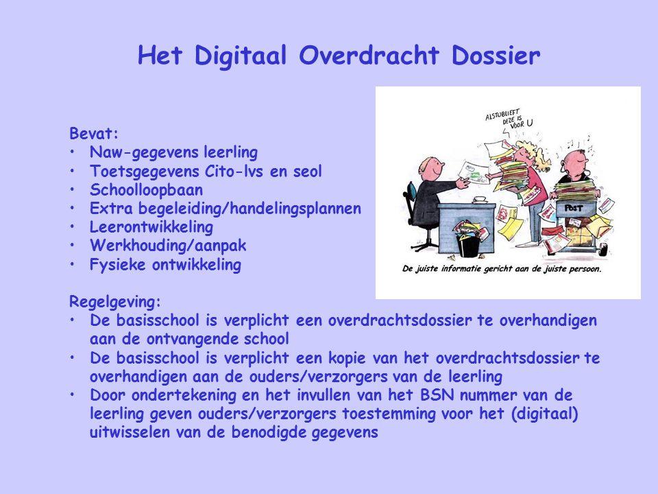 Het Digitaal Overdracht Dossier Bevat: Naw-gegevens leerling Toetsgegevens Cito-lvs en seol Schoolloopbaan Extra begeleiding/handelingsplannen Leeront