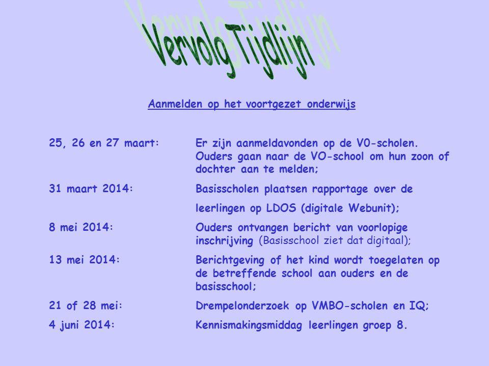Aanmelden op het voortgezet onderwijs 25, 26 en 27 maart:Er zijn aanmeldavonden op de V0-scholen. Ouders gaan naar de VO-school om hun zoon of dochter