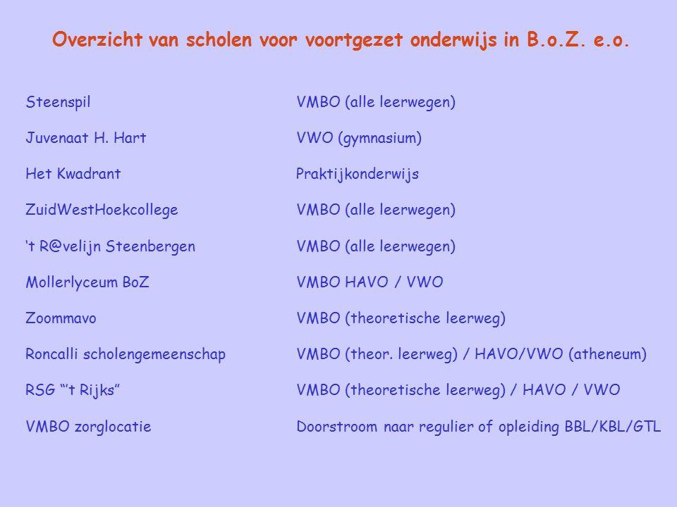 Overzicht van scholen voor voortgezet onderwijs in B.o.Z. e.o. SteenspilVMBO (alle leerwegen) Juvenaat H. HartVWO (gymnasium) Het KwadrantPraktijkonde
