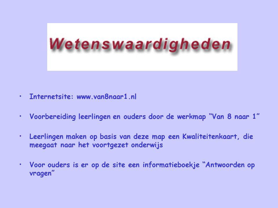 """Internetsite: www.van8naar1.nl Voorbereiding leerlingen en ouders door de werkmap """"Van 8 naar 1"""" Leerlingen maken op basis van deze map een Kwaliteite"""