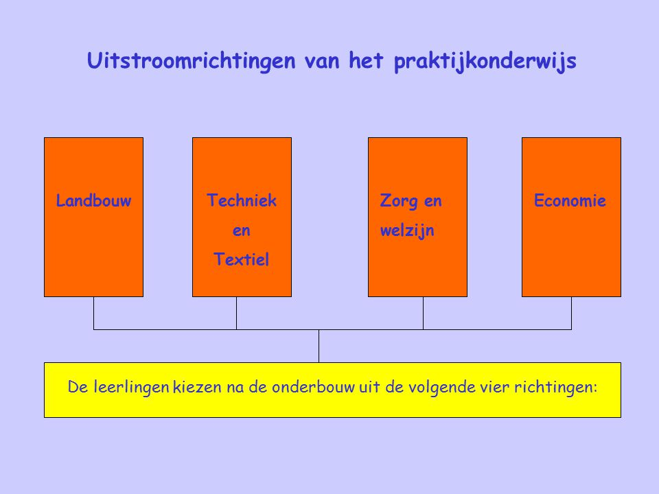Uitstroomrichtingen van het praktijkonderwijs De leerlingen kiezen na de onderbouw uit de volgende vier richtingen: EconomieZorg en welzijn Techniek en Textiel Landbouw