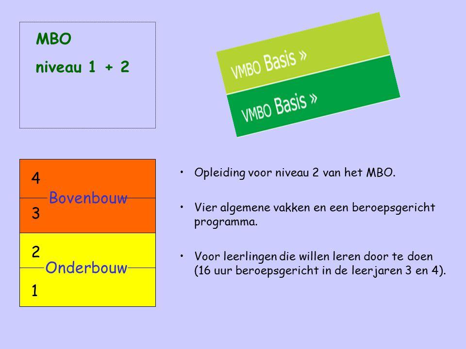 Opleiding voor niveau 2 van het MBO. Vier algemene vakken en een beroepsgericht programma. Voor leerlingen die willen leren door te doen (16 uur beroe