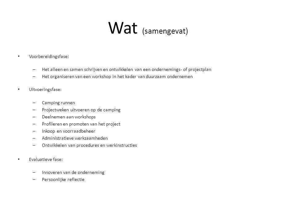 Wat (samengevat) Voorbereidingsfase: – Het alleen en samen schrijven en ontwikkelen van een ondernemings- of projectplan – Het organiseren van een wor
