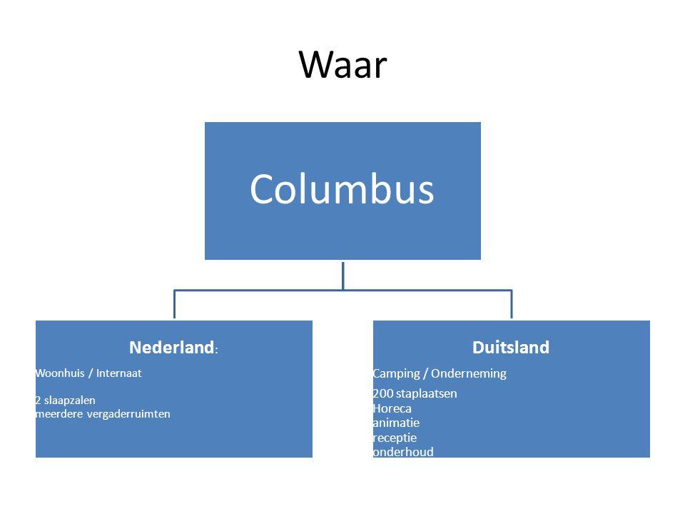 Waar Columbus Nederland : Woonhuis / Internaat 2 slaapzalen meerdere vergaderruimten Duitsland Camping / Onderneming 200 staplaatsen Horeca animatie r