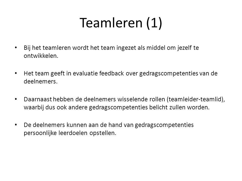Teamleren (1) Bij het teamleren wordt het team ingezet als middel om jezelf te ontwikkelen. Het team geeft in evaluatie feedback over gedragscompetent
