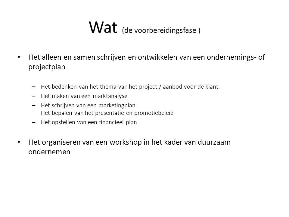 Wat (de voorbereidingsfase ) Het alleen en samen schrijven en ontwikkelen van een ondernemings- of projectplan – Het bedenken van het thema van het pr