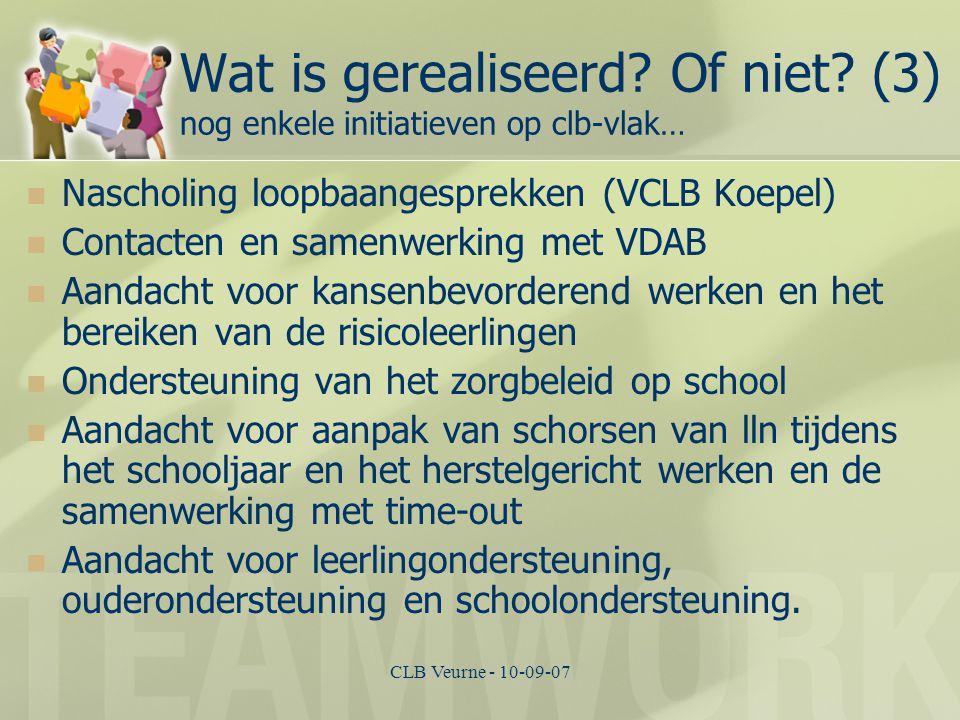 CLB Veurne - 10-09-07 Wat is gerealiseerd? Of niet? (3) nog enkele initiatieven op clb-vlak… Nascholing loopbaangesprekken (VCLB Koepel) Contacten en