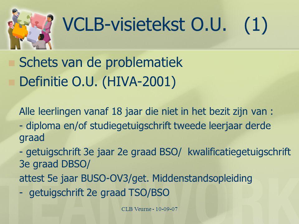 CLB Veurne - 10-09-07 VCLB-visietekst O.U. (1) Schets van de problematiek Definitie O.U. (HIVA-2001) Alle leerlingen vanaf 18 jaar die niet in het bez