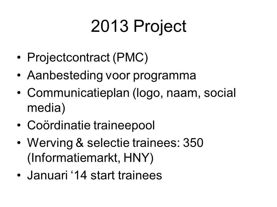 2013 Project Projectcontract (PMC) Aanbesteding voor programma Communicatieplan (logo, naam, social media) Coördinatie traineepool Werving & selectie