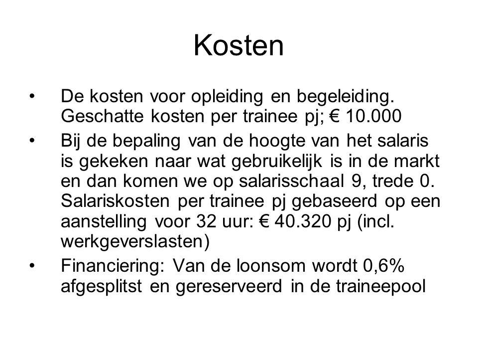 Kosten De kosten voor opleiding en begeleiding.