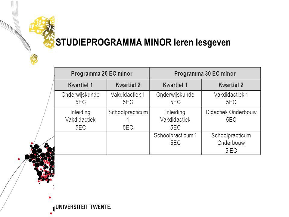 STUDIEPROGRAMMA MINOR leren lesgeven Programma 20 EC minorProgramma 30 EC minor Kwartiel 1Kwartiel 2Kwartiel 1Kwartiel 2 Onderwijskunde 5EC Vakdidacti