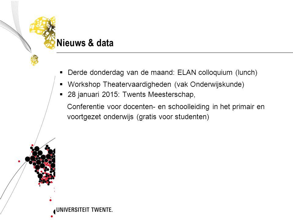 Nieuws & data  Derde donderdag van de maand: ELAN colloquium (lunch)  Workshop Theatervaardigheden (vak Onderwijskunde)  28 januari 2015: Twents Me