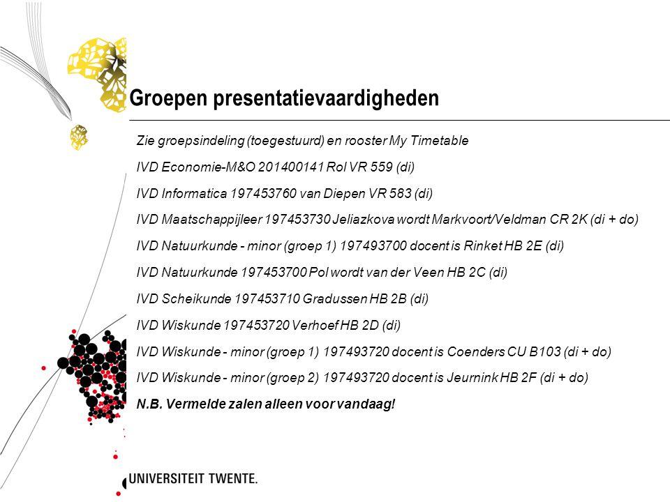 Groepen presentatievaardigheden Zie groepsindeling (toegestuurd) en rooster My Timetable IVD Economie-M&O 201400141 Rol VR 559 (di) IVD Informatica 19