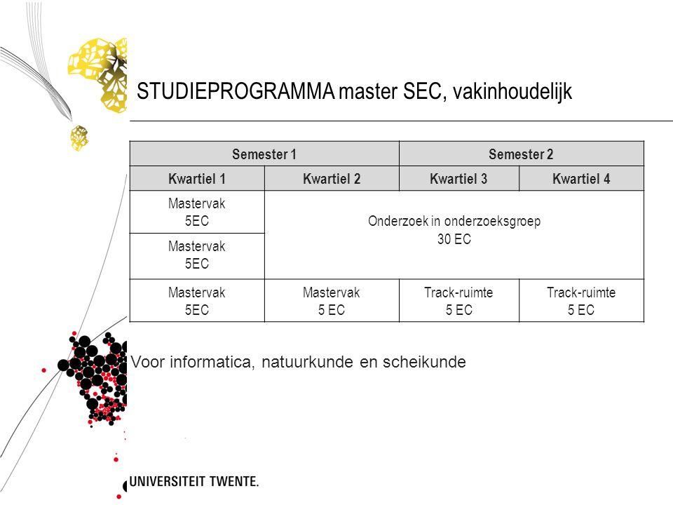 STUDIEPROGRAMMA master SEC, vakinhoudelijk Semester 1Semester 2 Kwartiel 1Kwartiel 2Kwartiel 3Kwartiel 4 Mastervak 5ECOnderzoek in onderzoeksgroep 30