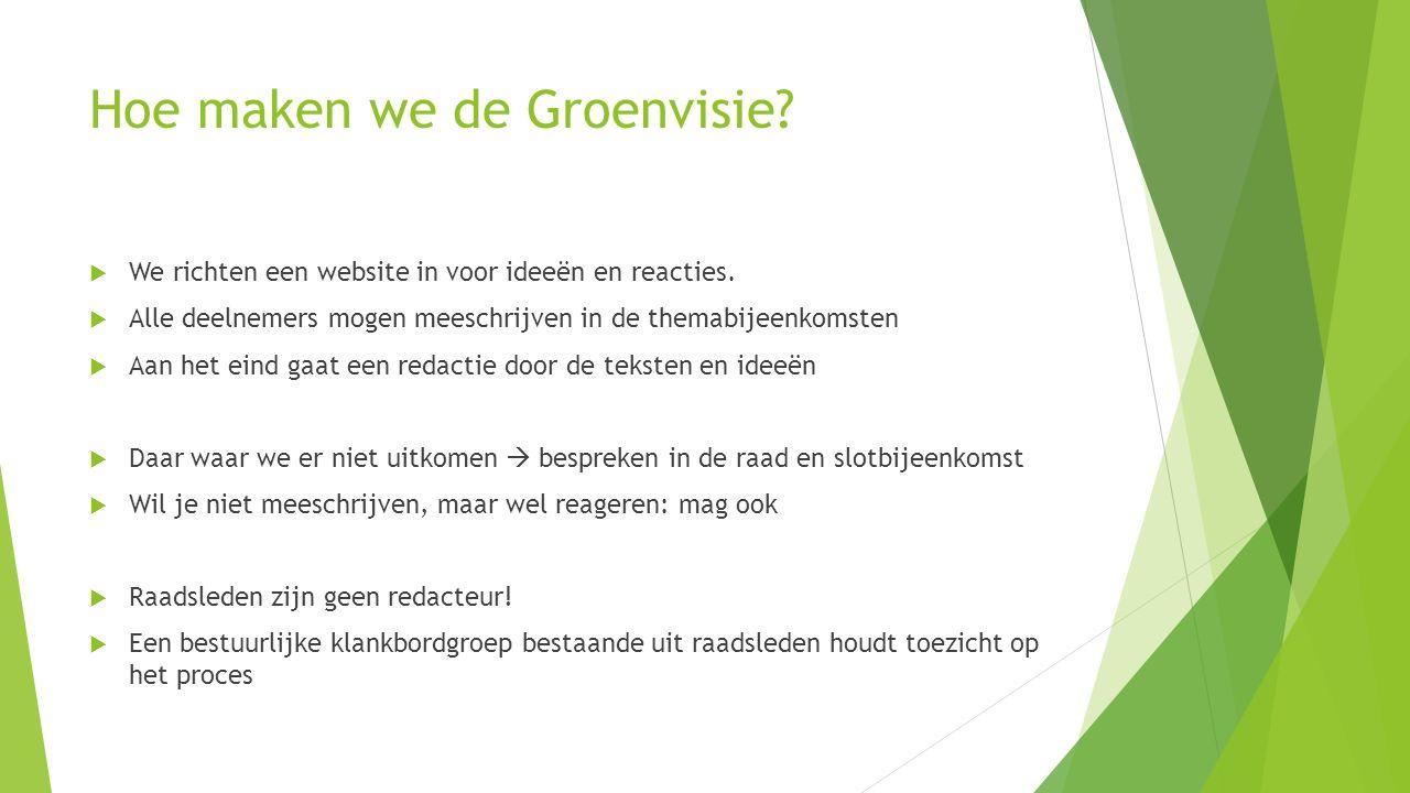 Hoe maken we de Groenvisie. We richten een website in voor ideeën en reacties.