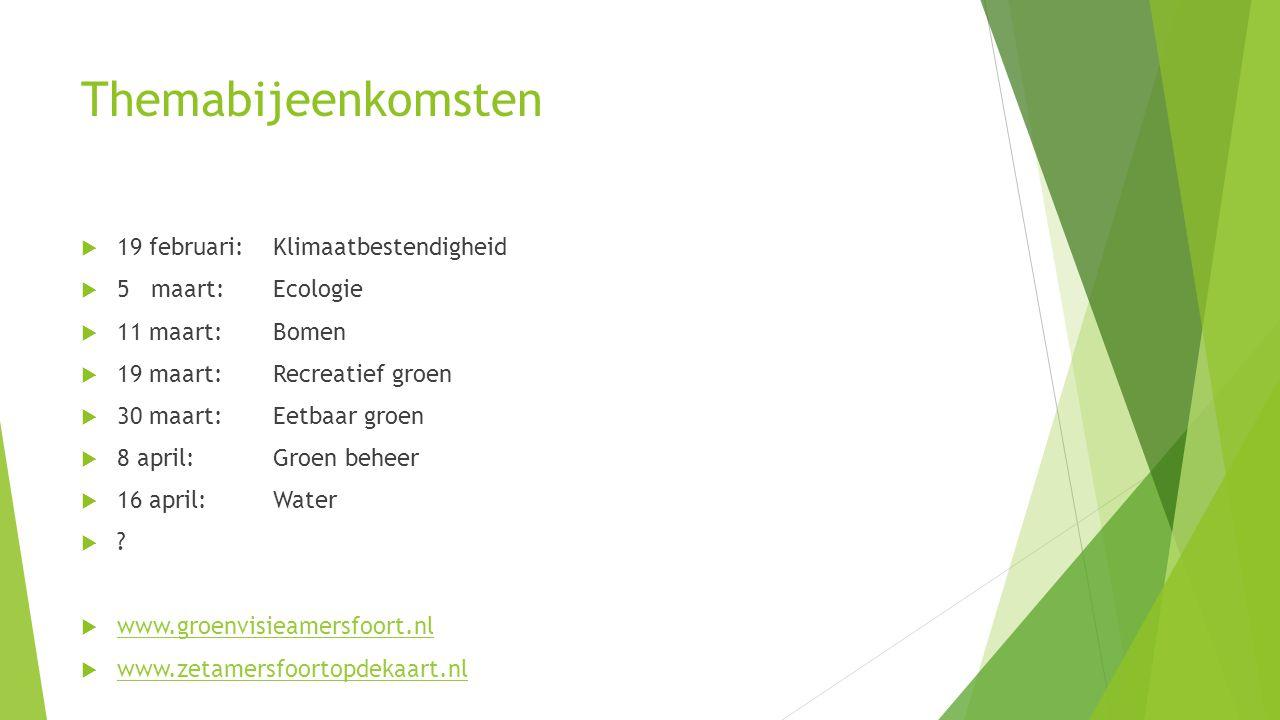 Themabijeenkomsten  19 februari:Klimaatbestendigheid  5 maart: Ecologie  11 maart: Bomen  19 maart: Recreatief groen  30 maart: Eetbaar groen  8 april: Groen beheer  16 april: Water  .