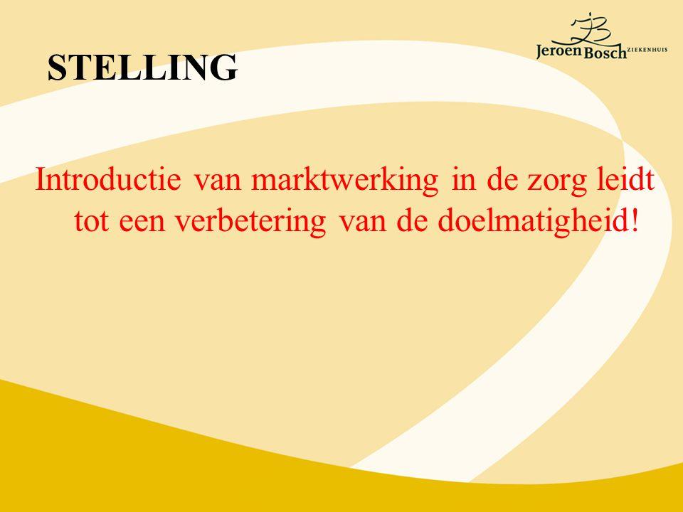 STELLING Introductie van marktwerking in de zorg leidt tot een verbetering van de doelmatigheid!